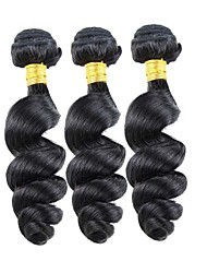 Hot Sale 300g/lot 8-26inch Peruvian Virgin Hair Loose Wave Black Color Raw Human Hair Weaves .