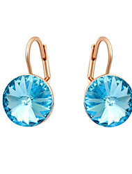 HKTC Concise Ladies Jewelry 18k Rose Gold Plated Dazzing Blue Cubic Zirconia Pierced Clip Earrings