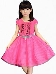 Menina de Vestido,Festa/Coquetel Estampado Algodão Verão Rosa / Branco / Amarelo