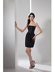 Cocktail Party Dress-Black Sheath/Column Strapless Short/Mini Taffeta