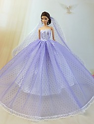Wedding Dresses For Barbie Doll Light Purple Dresses For Girl's Doll Toy