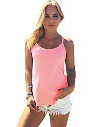 Women's Beach Boho Summer Tank Top,Solid Strap Sleeveless Blue Pink Red Cotton Thin