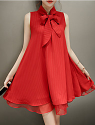 Women's Casual / Day Solid A Line Dress , Bow Above Knee Polyester