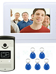 "ENNIO 7"" Color Video Intercom Door Phone System With 1 White Monitor 1 RFID Card Reader HD Doorbell 1000TVL Camera"