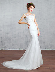Trumpet / Mermaid Wedding Dress Court Train Jewel Lace with Beading / Flower / Lace / Pearl