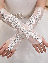 Elbow Length Fingerless Glove Elastic Satin Bridal Gloves Party/ Evening Gloves Spring Summer Fall Winter Rhinestone lace