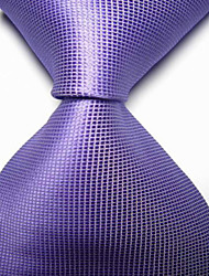 New Solid Violet Lavender Checked JACQUARD WOVEN Men's Tie Necktie TIE2036