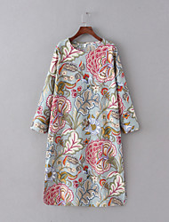 Women's Vintage Floral Tunic Dress,Round Neck Midi Cotton / Linen