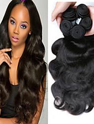 3 paquetes de la onda del cuerpo del pelo brasileño virginal, de color negro natural, pelo humano virginal sin procesar tejidos venta.