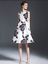 Women's Vintage Floral A Line Dress,Round Neck Knee-length Polyester