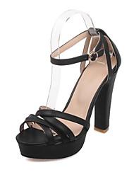 Damen High Heels Pumps PU Frühling Sommer Hochzeit Party & Festivität Kleid Pumps Schnalle Blockabsatz Weiß Schwarz Beige Rosa 10 - 12 cm