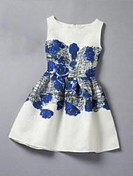 Girl's Blue Dress Rayon Summer / Fall / Spring