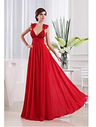 Formal Evening Dress Sheath / Column V-neck Floor-length Chiffon with Beading / Draping / Flower(s) / Side Draping