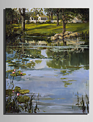 Mini Size E-HOME Oil painting Modern Pond Side View Pure Hand Draw Frameless Decorative Painting