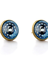 Stud Earrings Gemstone Glass Alloy Simple Style Bronze Jewelry Wedding Party Daily Casual 1 pair