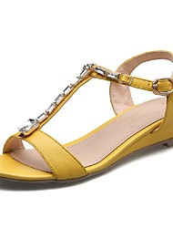 Women's Shoes Cowhide Wedge Heel Wedges / T-Strap Sandals Party & Evening / Dress / Casual Yellow / Beige