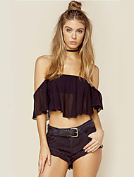 Women's Solid Black Blouse,Strapless Short Sleeve