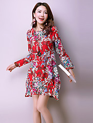 Women's Vintage Print Loose Dress,Round Neck Above Knee Linen