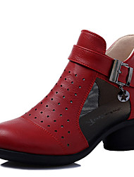 Modern Women's Dance Shoes Sneakers Breathable Leather Cuban Heel Black/Beige/Red