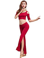 Belly Dance Outfits Women's Training Modal Draped 2 Pieces Fuchsia / Light Purple / Orange / Burgundy Belly Dance Short Sleeve Natural