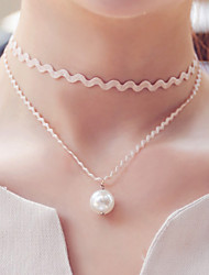 Women's Choker Necklaces Gothic Jewelry Tattoo Choker Pearl Lace Tattoo Style Fashion Double-layer Costume Jewelry Jewelry For Wedding