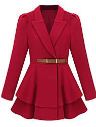 Mulheres Casaco Casual Simples Outono,Sólido Vermelho / Preto Poliéster Colarinho de Camisa-Manga Longa Grossa
