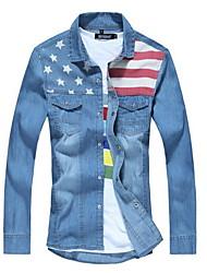 Men's Print Long Sleeve Top,Cotton Casual / Plus Sizes Denim Shirts
