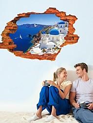 Broken Wall Aegean Sea Scenery 3D Wallstickers For Kids Living Room Wallpaper Art Stikers Decoration Wall Decorative