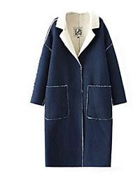 Manteau Aux femmes Manches Longues Street Chic Coton / Polyester