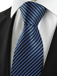 KissTies Men's Striped Navy Blue Microfiber Tie Necktie For Wedding Party Holiday With Gift Box