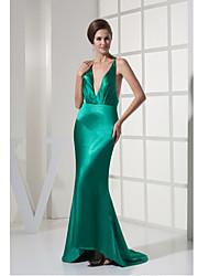 Formal Evening Dress-Jade Sheath/Column V-neck Ankle-length Stretch Satin