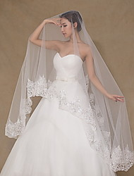 Wedding Veil One-tier Chapel Veils Lace Applique Edge Tulle Lace Ivory