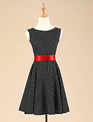 Women's Going out Vintage / Cute Skater Dress,Polka Dot Boat Neck Knee-length Sleeveless Red / Black Cotton / Polyester / Spandex Summer