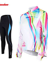 TASDAN® Cycling Jersey with Tights Women's Long Sleeve Breathable / Quick Dry / 3D Pad / Reflective Strips / Back Pocket / Sweat-wicking