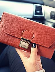 Women PU Tri-fold Clutch / Wallet / Card & ID Holder-Brown / Gray / Black