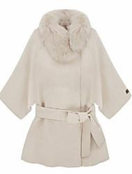 Manteau Aux femmes Manches ¾ Simple / Street Chic Coton