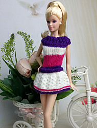 Casual Dresses For Barbie Doll Purple / White Dresses