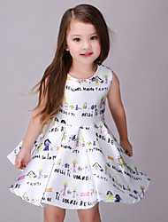 Menina de Vestido Poliéster Verão Branco