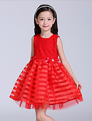Girl's Red Dress,Print Polyester All Seasons