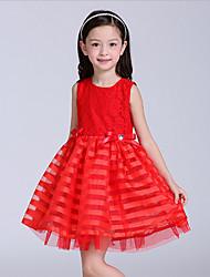 Vestido Chica de-Todas las Temporadas-Poliéster-Rojo
