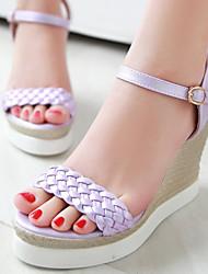 Women's Shoes Wedges Heel/Sling back/Open Toe Platform Sandals Dress/Casual Pink/Purple/White/Gold