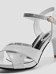 Women's Shoes Synthetic Stiletto Heel Peep Toe Sandals Wedding / Office & Career / Dress / Casual Black / White