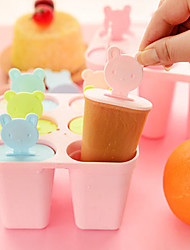 6-Cell Shaped Reusable DIY Frozen Ice Cream Pop Molds Ice Lolly (Random Color)