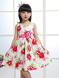 Girls Red Flower Print Bow Party Pageant Holiday Lovely Kids Clothing  Dresses (100% Cotton)