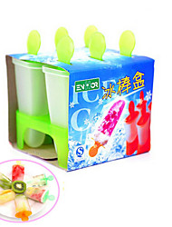 6 Cell DIY Frozen Ice Cream Pop Mold Popsicle Maker Lolly Mould Tray Pan Kitchen Tools(Random Color