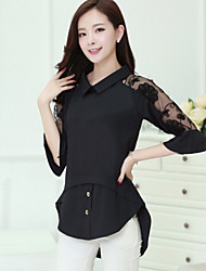 Women's Solid White / Black Blouse,Shirt Collar ½ Length Sleeve