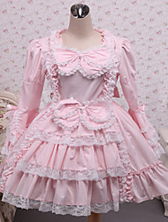 Steampunk®Pink Bow Long Sleeves Ruffles Cotton Lolita Dress