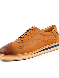 Men's Oxfords Formal Shoes Comfort Real Leather PU Leather Spring Fall Casual Formal Shoes Comfort Lace-up Flat HeelLight Brown Navy Blue