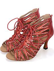 Chaussures de danse(Noir Rouge Argent) -Personnalisables-Talon Bobine-Satin-Salsa