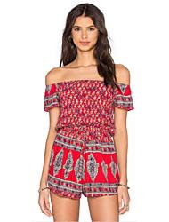 Women's Print Red Jumpsuits,Boho Boat Neck Short Sleeve